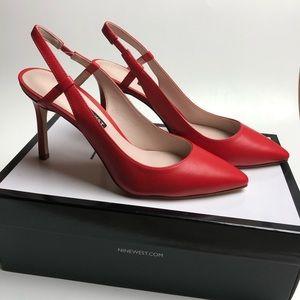 Nine West Pointed Toe Slingback Pumps Heels Red